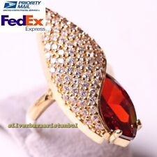 Turkish 925 Sterling Silver Leaf Design Ruby Stone Ladies Woman Ring All Size