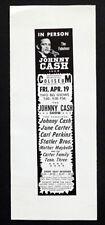 1968 Vintage JOHNNY CASH Concert Poster AD SLICK PROOF June Carter CARL PERKINS