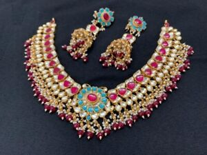 South Indian Jewelry Kundan Necklace Pink Wedding Jewellery Gold Plated Jewelry