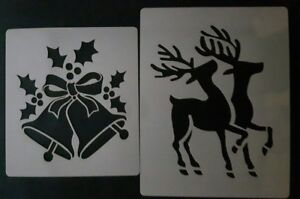 Christmas bell & Reindeers snow spray stencils   Mylar 350 micron