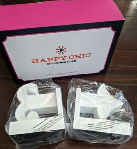 JONATHAN ADLER Bookends Happy Chic Katie White Arrow Modern Book Ends Set $195