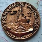 Old French Navy Metal Plaque Tampion Crest Groupe D'Action Sous-Marine