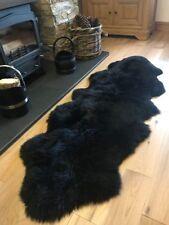 Super Soft Extra Large Black Genuine Luxury British Sheepskin Rug Rugs Hide