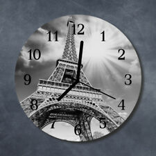 Glass Wall Clock Kitchen Clocks 30 cm round silent Eiffel Tower Paris Black & Wh