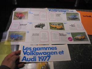 Catalogue formant affiche VW VolksWagen Audi Gamme 77 Coccinelle Golf Combi