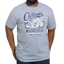 Duke D555 Mens Big Tall Memphis Custom Motorbike Short Sleeve T-shirt Tee - Blue
