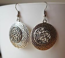 Filigree Round Antique Silver Metal Earrings Boho Indian Tribal