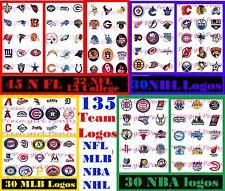 All Sports Team Logos 45 NFL/Col- 30 MLB-30 NBA-30 NHL Precut Bottle Cap Images