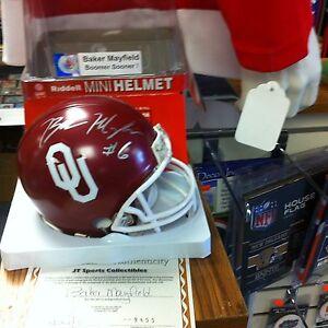 Baker Mayfield~Autographed Oklahoma Sooners Riddell mini Helmet ~COA Authentic