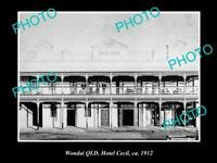 OLD LARGE HISTORIC PHOTO OF WONDAI QLD, VIEW OF HOTEL CECIL c1912