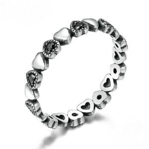 Pretty Sterling Silver Stackable Ring with Black CZ Hearts  - Choose a Size