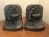 Antique Bronze Art Nouveau Maiden Fountain Garden Statue Bookends RARE!