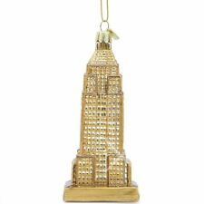 Golden Empire State Building Glass Ornament
