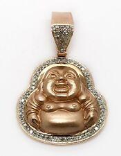 Mens,Womens 14k Solid Rose Gold Diamond Happy Laughing Buddha Pendant 33MM