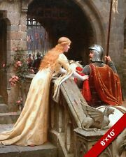 YOUNG WOMAN LADY BIDDING FAREWELL TO KNIGHT OIL PAINTING ART REAL CANVAS PRINT