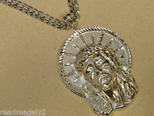 Men's Jumbo Size XXL Rhodium Plated Jesus Head Charm & 30in Long Curb Chain Set