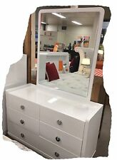 Gemma Hi Gloss White 6 Drawer Dressing Table with Mirror - BRAND NEW