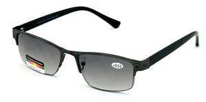 Metal Rectangle Progressive No Line Reading Glasses Tri-Focal Sunglasses Readers