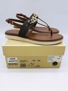 Michael Kors Women's Roxane Chain Slingback Thong Sandals MK Brown/ Luggage 7M
