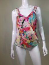 Amanda Uprichard Women's Multi-Color Tank Top V-Neck 100% Silk Size L