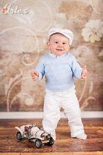 Taufe Strickjacke Taufanzug  Babyanzug Anzug Blauweiss Größe 56/86- 4-Tlg. NEU