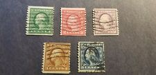 U.S Scott #443 - #447 USED 1914 Coil Stamps. Perf 10 Vertically.