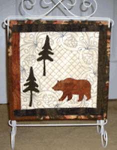 """Bear In The Woods Art Quilt 11.5""""x13.5 """"With Hand Crafted Wire Holder 12""""x 14"""""""