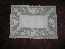 Lovely Antique Italian Needle Lace Runner~Dresser Scarf~Cupids~Putti~Maidens