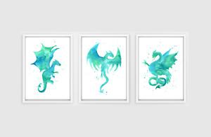 Watercolour Dragon Print Set - turquoise dragon prints, boys bedroom art
