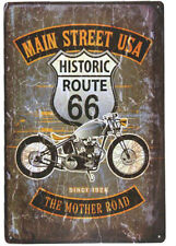 Route 66 Motorcycle Tin Sign Bar Cafe Diner Garage Wall Decor Retro Metal Art