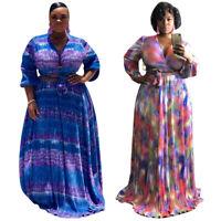 New Plus Size Women Long Sleeves Bandage Top Printed Long Skirt Set Casual 2pcs