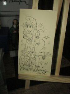 Walthéry&Graff-Carte de voeux ,Natacha Sexy-Signée&Numérotée-14 exemplaires-2001