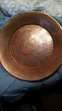 ANTIQUE HEAVY HAND FORGED LARGE COPPER PAN READY TO HANG INTRICATE DETAILS