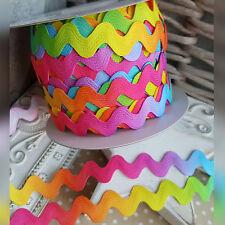 10mm Rainbow Ric Rac Ribbon Trim. Bright Colourful Unicorn Cake Craft Birthday