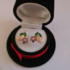 Beautiful Multi Gemstone stud earrings in yellow gold over Sterling Silver