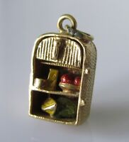 9ct Gold Charm - Vintage 9ct Yellow Gold Fridge With Enamelled Food Charm