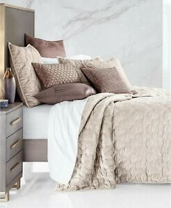 $335.00 Hotel Collection Contour Velvet Coverlet, Full/ Queen, Pearly Champagne