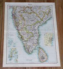 1903 ORIGINAL ANTIQUE MAP OF SOUTHERN INDIA SRI LANKA HYDERABAD MADRAS MUMBAI