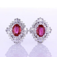 2.66CTW Ruby and Diamond Earrings G SI 18K White Gold