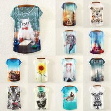 Summer Women Casual Floral Print Tops Blouse Short Sleeve Beach Loose T-Shirt