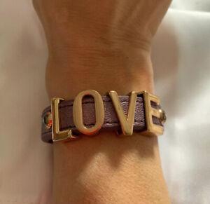 "BCBGENERATION ""LOVE"" Lavender Colored Leather Snap Cuff Bracelet BCBG"