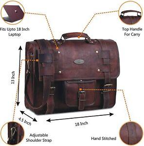 Handmade Vintage Brown Leather Laptop Messenger Shoulder Bag Office Briefcase