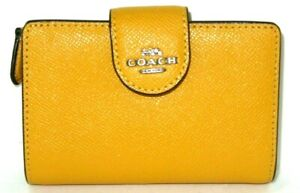 Coach Ochre Yellow Cross Grain Leather Medium Corner Zip Wallet 6390 NWT $178