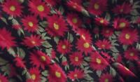 RED & BLACK FLORAL POLYESTER FABRIC,CREPE DE CHINE, 116 cm w sold per metre,AUST