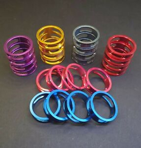 💥4Pcs CNC Carbon Stem 1-1/8 Headset Spacers Red,Blue,Pink,Purple,Titanium,Gold
