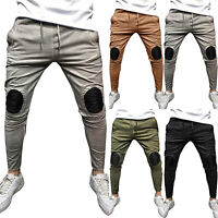 Mens Fold Knee Ripped Skinny Denim Jeans Pants Casual Stretch Slim Fit Trousers