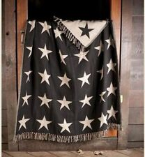 BLACK STAR WOVEN THROW : PRIMITIVE COUNTRY COTTON TAN QUILT LAP BLANKET