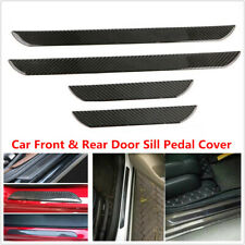 4PCS Car Carbon Fiber Front Rear Door Sill Pedal Cover Panel Protector Strip Kit