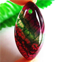 Nice Green&Rose Fire Dragon Veins Agate Marquise Pendant Bead 40*20*7mm AQ70065
