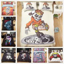 3D Cartoon Skateboard Skull Duvet Cover Bedding Set Hip hop Style Quilt Cover
